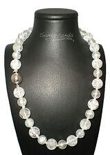Collana In Cristallo di Rocca con Inclusioni chiusura in argento Made in Italy