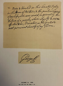 KING GEORGE III (1760) HANDWRITTEN SPEECH EXCERPT - RARE FINE PRESS - FACSIMILE