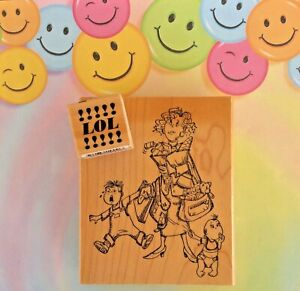 Mothers Day Humor Wood Mount Rubber Stamp Mommin' Ain't Easy w/ Kids + SMALL LOL