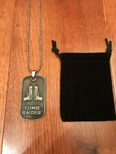 Tomb Raider Pendant & Pouch New Cosplay Rare Necklace Hot Lara Croft Dod Tag