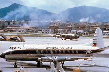 PHILIPPINE AIRLINES VISCOUNT PI-C771 HONG KONG KAI TAK -  6x4 inch PRINT
