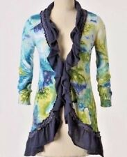 Anthropologie Ruffled Cardigan Sweater Artsy Ocean Sea Water Print Quirky S