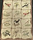2 Vintage Wool Hooked Rugs Japan Audubon Birds 3x5 ft Floral Arabesque 3x4 ft