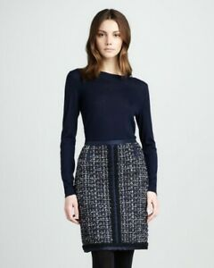 Tory Burch Anabelle Shimmer Pencil Wool Tweed Skirt size 10 Navy