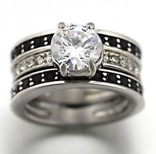 STAINLESS STEEL 3CT lab diamond BLACK & SILVER WOMEN ENGAGEMENT WEDDING RING set