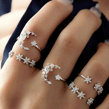 5Pcs/Set Crystal Silver Finger Rings Star Flower Stackable Ring Charm Jewelry
