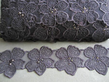 3M PURPLE ORGANZA LACE TRIM WITH EMBROIDERY 50MM WIDE