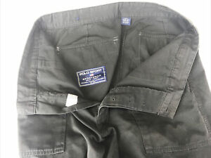 VINTAGE Polo Sport Sportsman Ralph Lauren Sportsman Black Pants 34x30 Button Fly