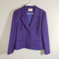 Women Vintage Pendleton 100% Virgin Wool Purpl Blazer 3 Button Closure Size 10