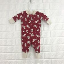Hanna Andersson infant 0-6 months red bodysuit white reindeer horses Christmas