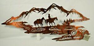 "Lazart - Cowboy Scene - 18"" Metal Decorative Laser Cut Wall Art Rustic Western"