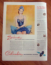 1941 Columbia Records Ad Ballerina Zorina 1941 Frigidaire Refrigerator Ad
