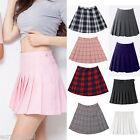 Women High Waist Zip Slim Tennis Plain Skater Pleated Short Mini Skirt Shorts