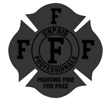 Firefighter Decal-Firefighting For Free Reflective Black Light Helmet Decal 4""
