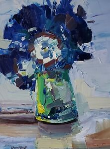 JOSE TRUJILLO Oil Painting IMPRESSIONISM STILL LIFE BLUE FLOWERS COLLECTIBLE ART