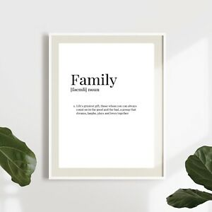family meaning quote bedroom/living room/ kitchen decor print/poster