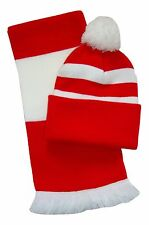 Red and White Hat and Scarf Set