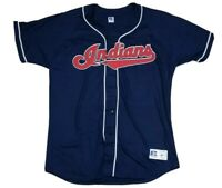 Vtg Cleveland Indians MLB Russell Athletic 90s Blue Baseball Jersey 2XL NEW USA