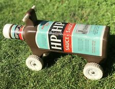 HP Sauce Advertising VERY RARE Novelty Sharna Ride Along Bottle Shaped Push Toy