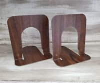 Vintage INDUSTRIAL Bookends Mid Century Modern Wood Grain Metal