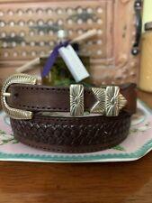 Leegin Western Belt ~ Size 32 ~ Brown Basketweave Belt 65809  Belt Excellent