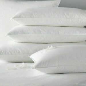 Duck Feather & Down Pillows Extra Filled Pillow Pack of 2,4,6 100% Cotton cover