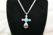 New Brighton YTC Graceful Silver & Turquoise Cross Convertible Necklace