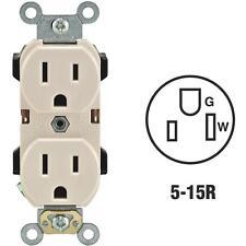 2-Leviton 15A Almond 2-Pole 3-Wire 5-15R Duplex Electric Outlet R56-05252-OTS