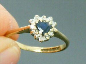 9ct Gold Sapphire & Diamond Hallmarked Heart Ring size I