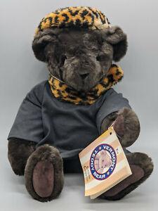 "Vermont 17"" Dark Brown Teddy Bear Dressed With Leopard Patter Hat & Black Dress"