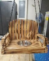 Handmade Squirrel Swing w/Torched Finish and Metal Bowl + Waterproofed.