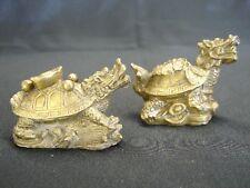 Pair of Brass Metal Dragon Tortoises Statues