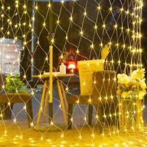 LED String Fairy Net Lights Outdoor Garden Window Christmas Mesh Curtain Light