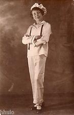 BJ392 Carte Photo vintage card RPPC enfant mode fashion béret tunique pantalon