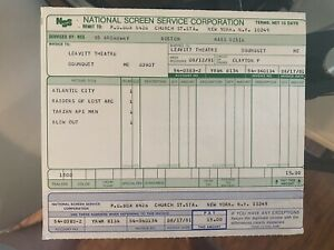 1981 Raiders Of The Lost Ark Original Theater Trailer Invoice Extremely Rare