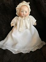 "Antique Bisque Head Cloth Body Baby Doll Armand Marseille Germany 12"" Linen Gown"