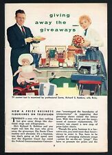 1954 TV ARTICLE~RICHARD ROBBINS & WIFE RICKY~TV SHOW GIVEAWAYS~PRIZES~DOLLS