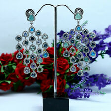 NATURAL FANCY CLR EMERALD TOPAZ DIOPSIDE TANZANITE APATITE...EARRINGS 925 SILVER