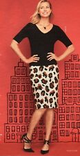 NWT $99 TALBOT'S ABSTRACT ANIMAL PRINT IVORY, SIENNA, BLACK PENCIL SKIRT 12P