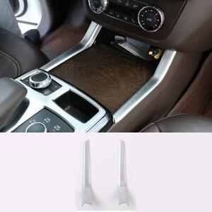 For Mercedes-Benz GL ML GLE GLS Class 2pcs Chrome Cup Holder Cover Strip Trim