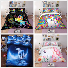3D Unicorn Duvet Quilt Cover Bedding Set with Pillowcases Single Double King New