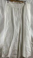 Women's Veronika Maine Linen/Lyocell White Boating Causal Long Pants Size 12