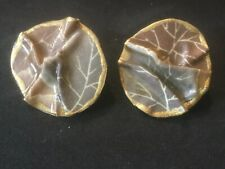 Circles. Metal. 1.5� D. Box 3 Vintage Clip Earrings. Tan, Brown, Gold