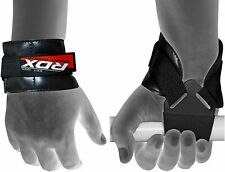 RDX Weight Lifting Reverse Hook Wrist Straps Hand Bar Grip Support Gym Wraps