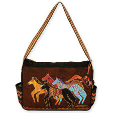 Laurel Burch Dark Brown With Gold Accents Native Horses Medium Tote Bag New