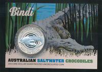 Australia: 2013 $1 Saltwater Crocodile Bindi 1oz Silver  Frosted UNC  Scarce