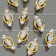 5 Pcs 3D Nail Art Gold Alloy Jewelry AB Rhinestone Decorations #EH-358