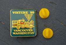 Voiture 99 Vancouver Washington WA Train Gold Tone Metal Lapel Pin Pinback