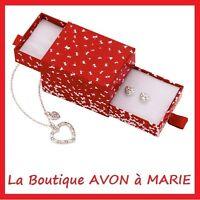 PARURE Collier pendentif COEUR + Boucles Argenté strass AVON NEUF + ECRIN