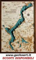 Lago Maggiore Mappa Cartina 3D Quadro Moderno Map Chart | www.geckoart.it